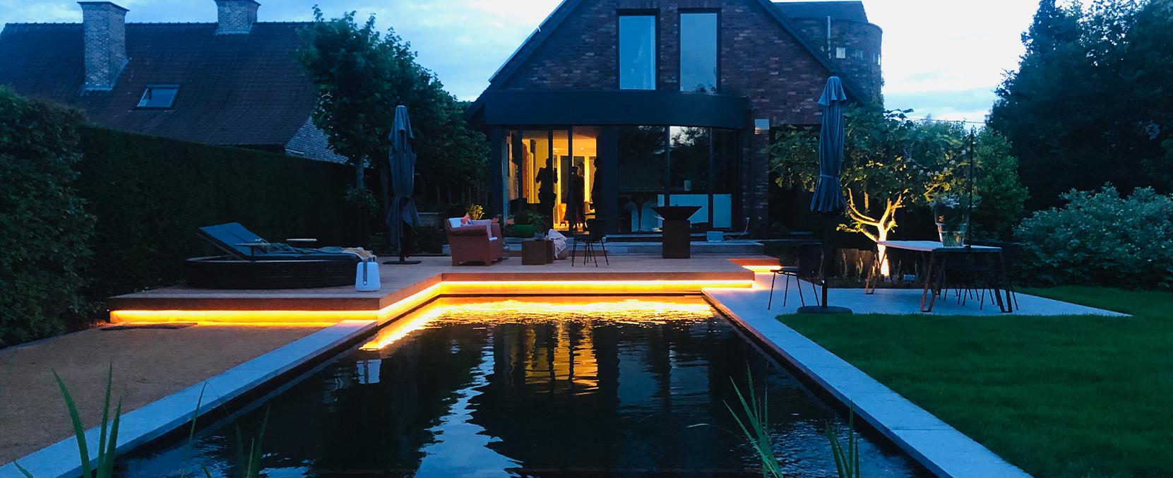 indirecte sfeerverlichting in de tuin